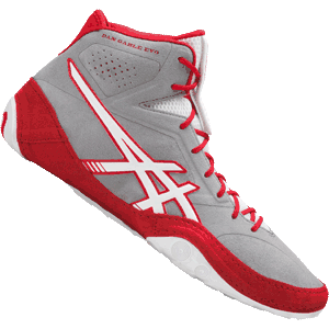 ASICS Dan Gable EVO Wrestling Shoes - Aluminum / White / Red