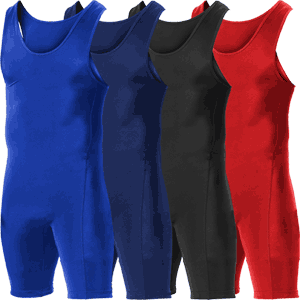 Alleson Athletic Nylon / Lycra Wrestling Singlet - Available in 4 Solid Colors